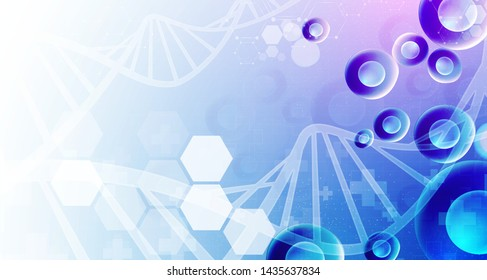 cell and dna health care and science icon pattern medical innovation concept background vector design.