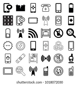Cell icons. set of 36 editable filled and outline cell icons such as no phone, hand on smartphone, bacteria, transmitter, phone with heart, signal, broken battery, battery