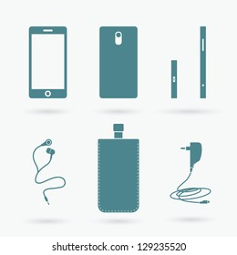 Cell phone and accessories - vector illustration