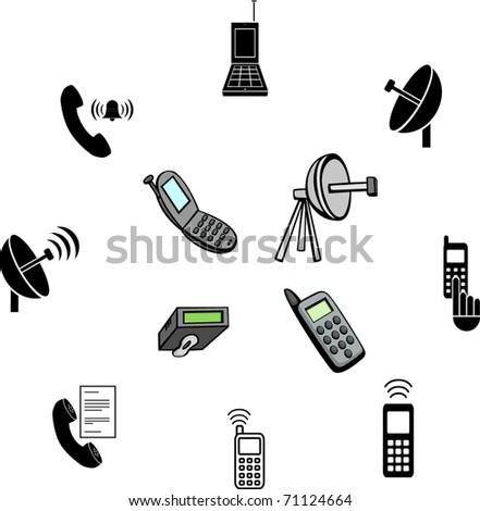 Cell Phone Communications Illustrations Symbols Set Stock Vector