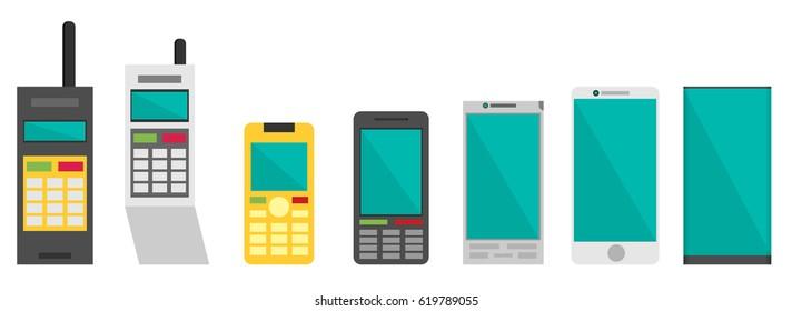 Cell phone evolution illustration. Flat vector.