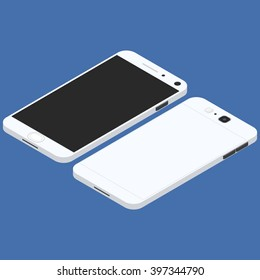 Cell phone. Flat isometric. Mobile device. Modern technologies of communication and management. White smartphone. Touchscreen display. Vector illustration.