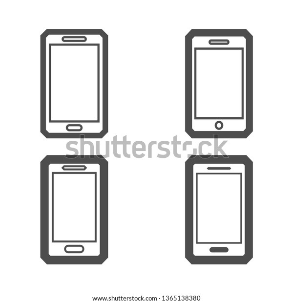 Cell Phone Icon Vector Set Single Stock Image Download Now