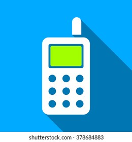 Cell Phone long shadow vector icon. Style is a flat light symbol with rounded angles on a blue square background.