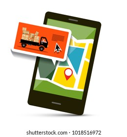 Cell Phone with Map and Van with Parcels. Vector Transportation Order Symbol.