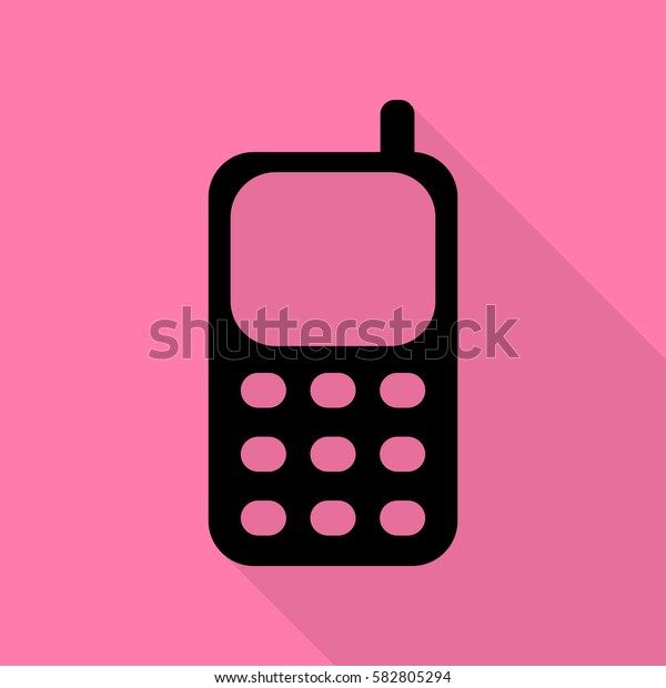 Cell Phone sign. Black icon with flat style shadow path on pink background.