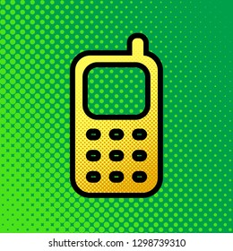 Cell Phone sign. Vector. Pop art orange to yellow dots-gradient icon with black contour at greenish background.