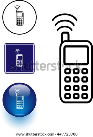 Cell Phone Symbol Sign Button Stock Vector Royalty Free 449723980