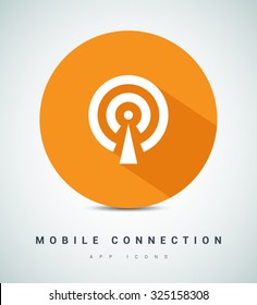 Cell Phone Tower. Wireless Icon. Mobile connection line vector icon for websites and mobile minimalistic flat design. Modern trend concept design style illustration symbol