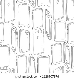 Cell Phones Seamless vector doodles background. Smartphones theme seamless pattern.