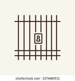 Cell for prisoners line icon. Jail, prison, detention. Justice concept. Vector illustration can be used for topics like law, crime, zoo