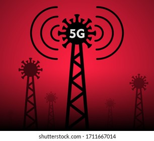 Cell tower 5g and silhouette novel coronavirus isolated on blue background. Creative art concept of world pandemia 2019-nCoV. Minimalistic vector illustration in cartoon flat style.