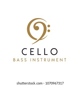 Cello / Bass Clef instrument with initial C logo design inspiration