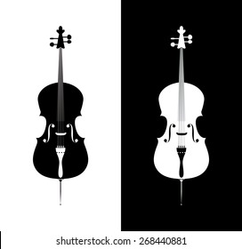 Cello in black and blue colors - orchestra strings music instrument in vertical pose, Vector Illustration isolated on white and black background