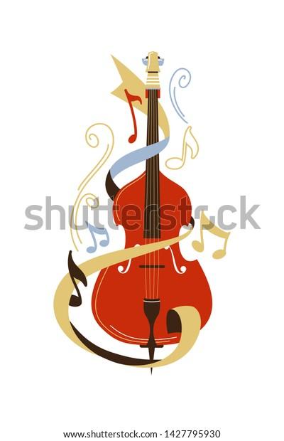 Cello Flat Vector Illustration Violoncello Notes The Arts