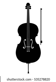Cello icon, isolated on white background. Musical instrument icon. Vector illustration.
