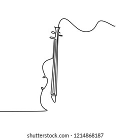 Cello one line drawing vector illustration. New minimalism style music theme.