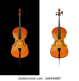 Cello - orchestra strings music instrument in vertical pose, Vector Illustration isolated on white and black background