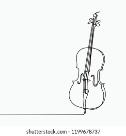 Cello vector with one line art drawing.