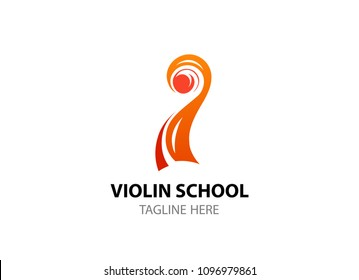 Cello and Violin head Music emblem. Vector Logo template for Violin school, academy, web site.