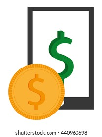 cellphone and coin , Vector illustration