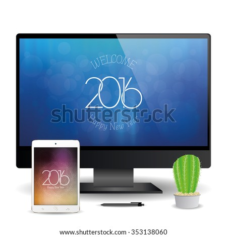 a cellphone and a computer screen with new year screensavers