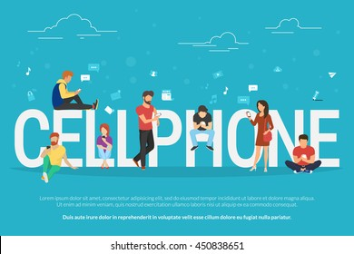Cellphone concept illustration of young people using smartphones for social networking and websites usage. Flat design of guys and young women standing near big letters with social media symbols