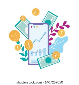 Cellphone with Financial Charts Graphs Make Money Online Smartphone Vector Flat Illustration Capital Flow Earning Financial Savings Ecommerce Stock Trading Mobile Application Effective Profitable Idea