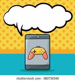 cellphone game doodle, speech bubble