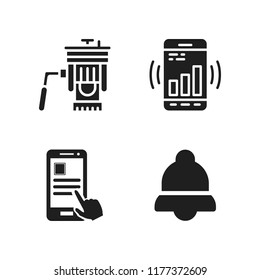 cellphone icon. 4 cellphone vector icons set. notification, smartphone app and tripod icons for web and design about cellphone theme