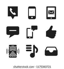 cellphone icon. 9 cellphone vector icons set. playlist, message and sms icons for web and design about cellphone theme