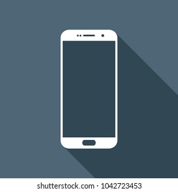 Cellphone icon. White flat icon with long shadow on background