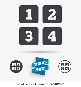 Cellphone keyboard sign icon. Digits symbol. Flat icons. Buttons with icons. Thank you ribbon. Vector