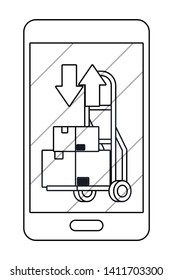 cellphone showing pushcart in black and white