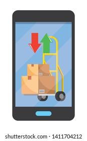 cellphone showing pushcart vector illustration