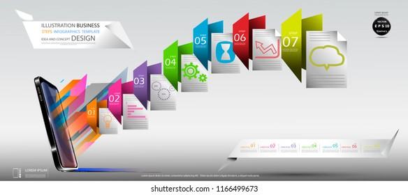 Cellphone,Folder Colorful icon, Illustration Business Steps Infographics Template  Idea and concept design text.