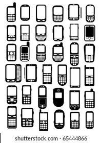 Cellphones and smartphones icons in vectors