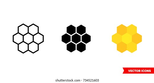 Cells, honeycombs icon of 3 types: color, black and white, outline. Isolated vector sign symbol.