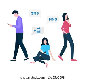 Cellular communication vector, woman and man using innovative gadgets and services, sms and MMS person with mobile phone online talks conversations