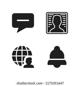 cellular icon. 4 cellular vector icons set. user, notification and message icons for web and design about cellular theme