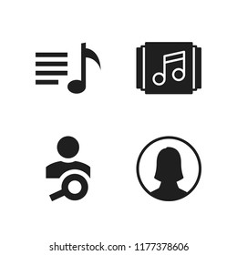 cellular icon. 4 cellular vector icons set. user and playlist icons for web and design about cellular theme