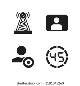 cellular icon. 4 cellular vector icons set. user, antenna and digital number icons for web and design about cellular theme
