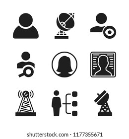 cellular icon. 9 cellular vector icons set. user and antenna icons for web and design about cellular theme