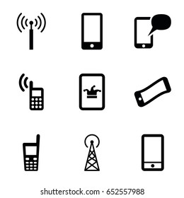 Cellular icons set. set of 9 cellular filled icons such as signal tower, poker on phone