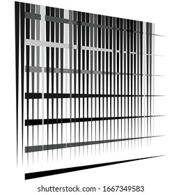 Cellular, reticulated grate, lattice. Grid, mesh element. array of bisect overlap intersect lines, stripes. geometric monochrome, black and white element, pattern. Intersect straight, parallel stripes