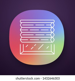 Cellular shades app icon. Window blinds. Room darkening motorized jalousie. Office, kitchen, bedroom interior decoration. UI/UX user interface. Web or mobile application. Vector isolated illustration