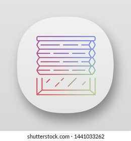 Cellular shades app icon. Window blinds. Room darkening motorized jalousie. Living room design. UI/UX user interface. Web or mobile applications. Vector isolated illustrations