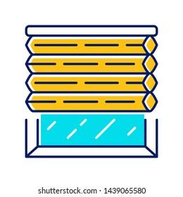 Cellular shades color icon. Window blinds. Room darkening motorized jalousie. Office, kitchen, bedroom interior decoration. Living room design. Isolated vector illustration