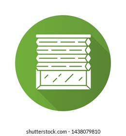 Cellular shades flat design long shadow glyph icon. Window blinds. Room darkening motorized jalousie. Office, kitchen, bedroom interior decoration. Living room design. Vector silhouette illustration