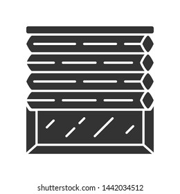 Cellular shades glyph icon. Window blinds. Room darkening motorized jalousie. Office, kitchen interior decoration. Living room design. Silhouette symbol. Negative space. Vector isolated illustration